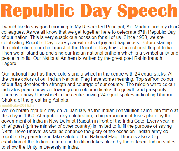 January Republic Day Speech In English For Students  Januaryrepublicdayspeechinenglishforstudents