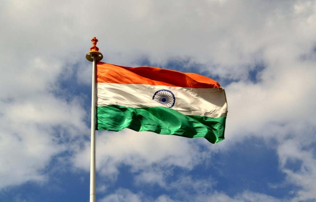 India-flag-fluttering-on-the-sky