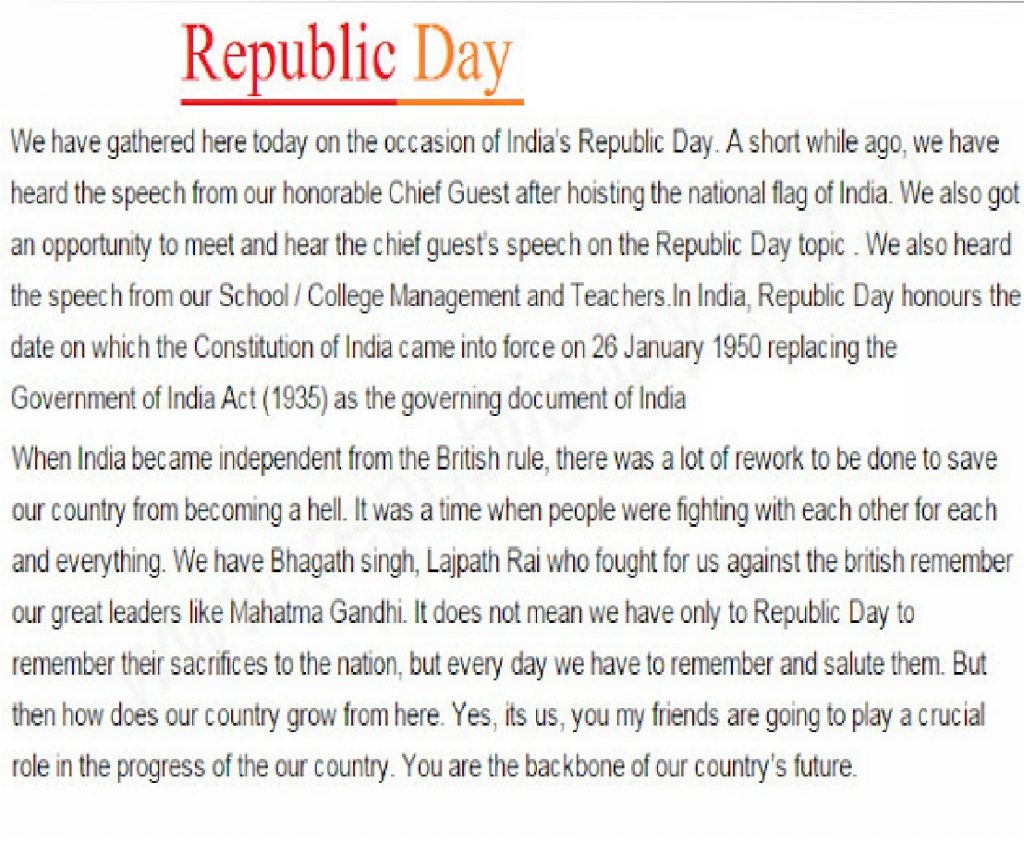 happy republic day speech and essay in hindi and english republic day speech for students and child up