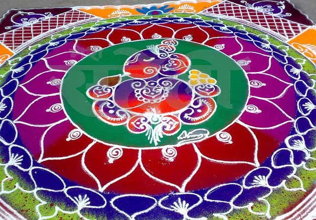 COLOURFUL RANGOLI ganesh chaturthi