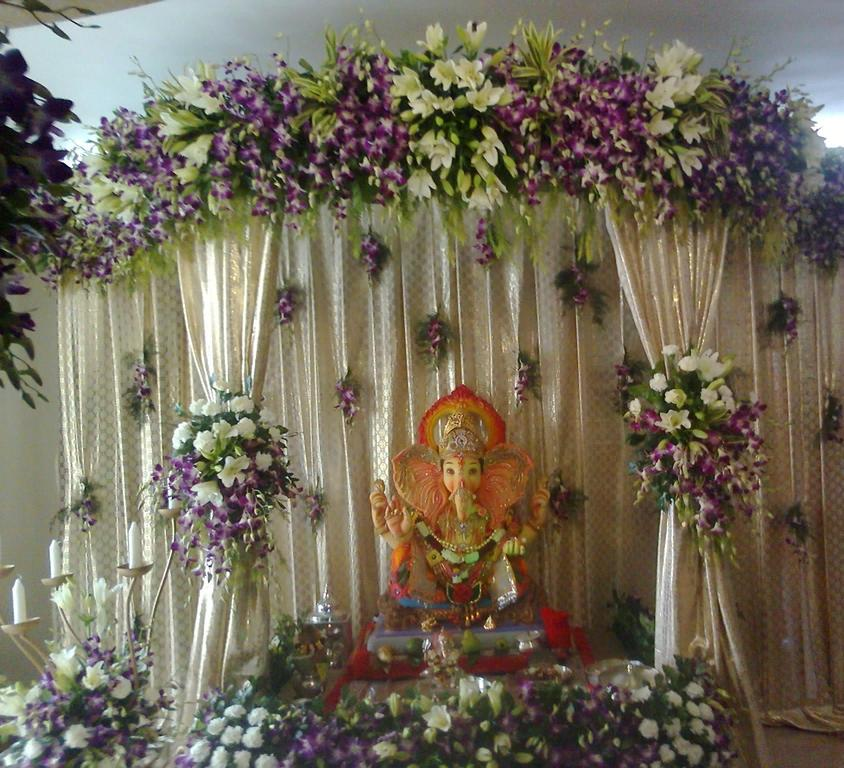 Eco friendly Ganpati FLOWER DECORATION