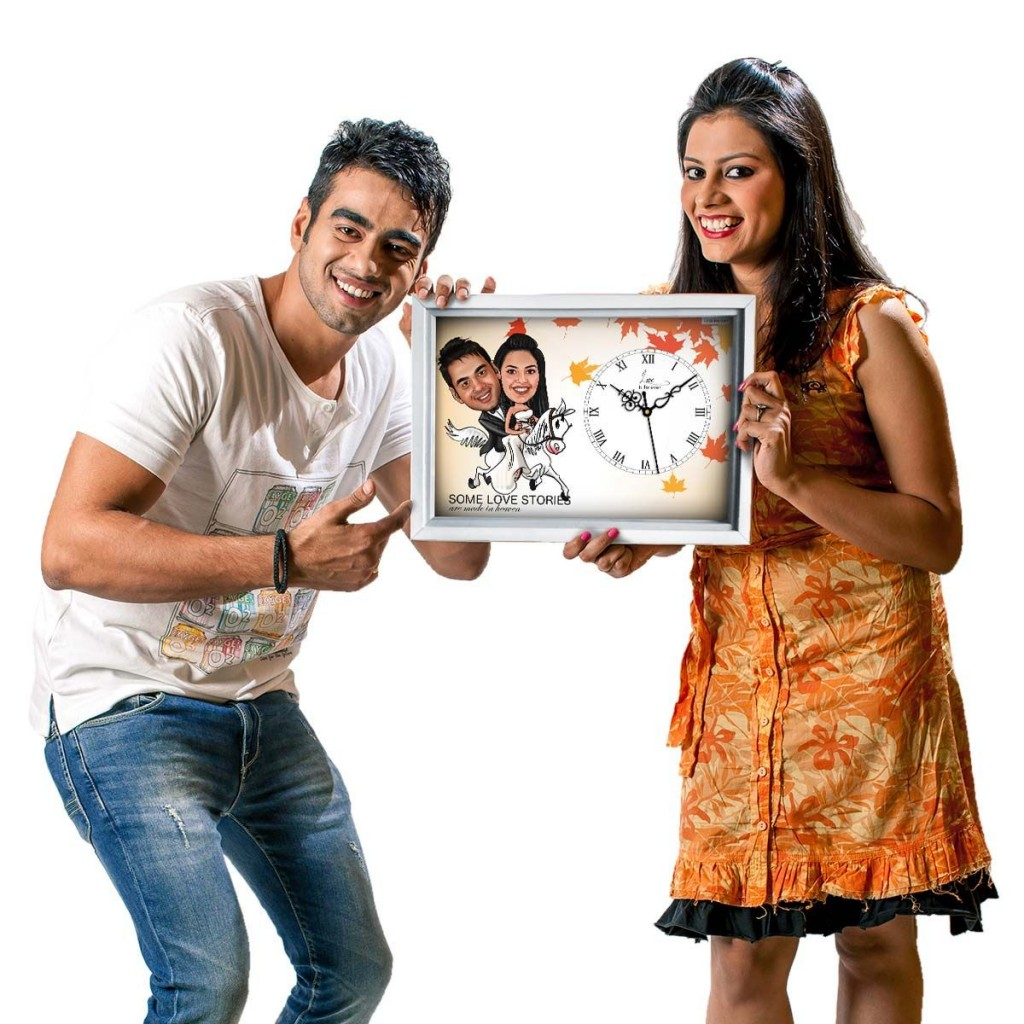 Personalize your Diwali Gifts-couple-on-horse-caricature-canvas-clock-personalized-gifts-couples