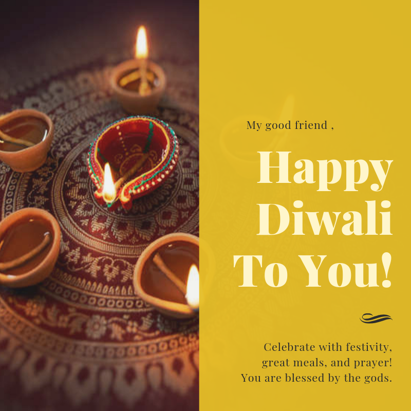 Gold Candle Photo Greeting - Personal Diwali Social Media Graphic