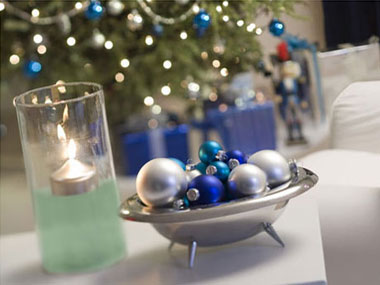 adorn with floating candles for a festive touch