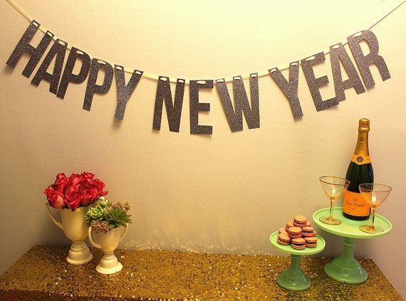 -happy-new-year-2015-banner-flowers-champagne-and-dessert-wall-decoration