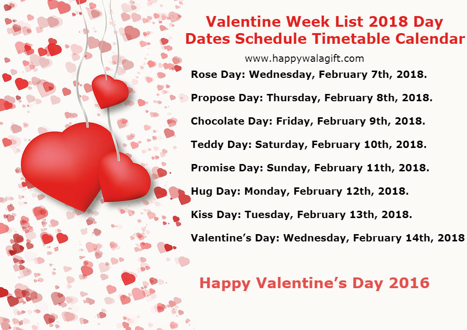 Valentine Week List 2018 Day Dates Schedule Timetable Calendar-image