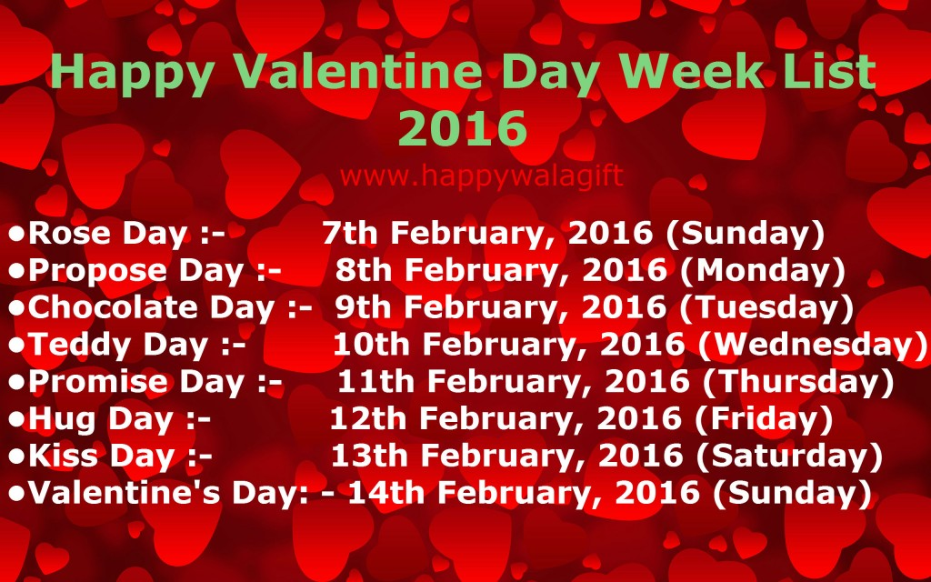 Valentines Day Week List 2018 With Dates Day 14th February