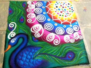 colorful-peacock-freehand-rangoli-for-holi-festival-2016