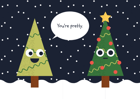 Funny Trees Christmas Card