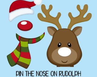 Pin the red nose of Rudolph